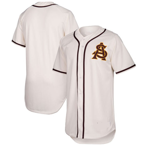 Customizable Arizona State Sun Devils White College Style Baseball Jersey