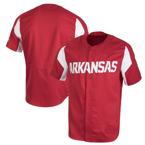 Customizable Arkansas Razorbacks College Style Baseball Jersey.