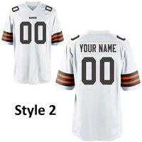 Cleveland Browns White Customizable Football Jersey