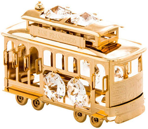 San Francisco Cable Car 24k Gold Plated Figurine with Swarovski crystal Elements