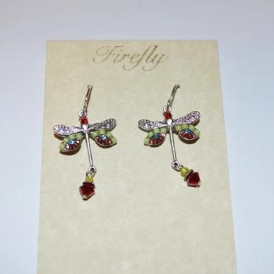 Firefly Jewelry Dragon fly earring - 6625 Red