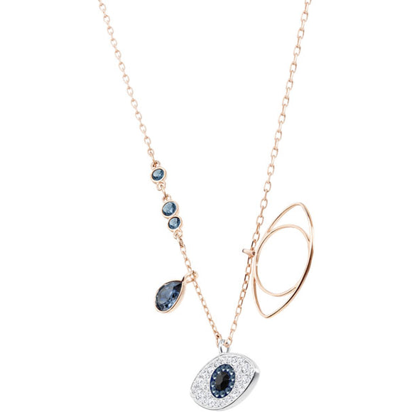 DUO EVIL EYE PENDANT, BLUE, MIXED PLATING 5172560