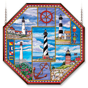 AMIA Art GLASS LIGHTHOUSE COLLAGE WINDOW DECOR PANEL 6468