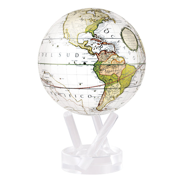 ANTIQUE TERRESTRIAL WHITE MOVA GLOBE 4.5