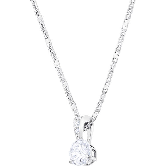 SOLITAIRE PENDANT, WHITE, RHODIUM PLATING 1800045