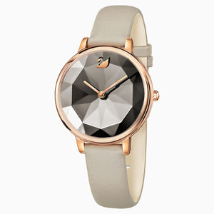 CRYSTAL LAKE WATCH, LEATHER STRAP, GRAY, ROSE-GOLD TONE PVDL 5415996