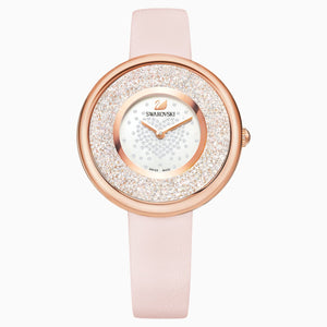 Swarovski CRYSTALLINE PURE WATCH, LEATHER STRAP, PINK, ROSE-GOLD TONE PVD 5376086