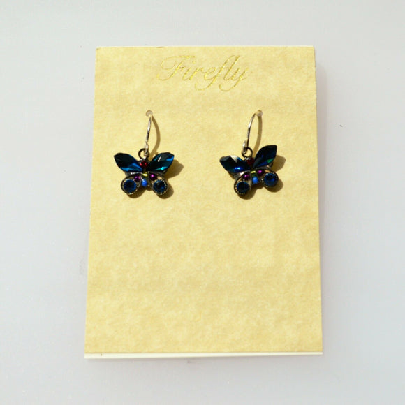 FIREFLY JEWELRY 7789-BB Butterfly EARRING Blue COLOR New Silver Wire