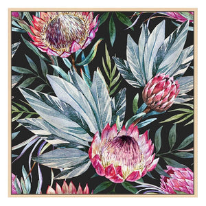 Black Floral Framed Print