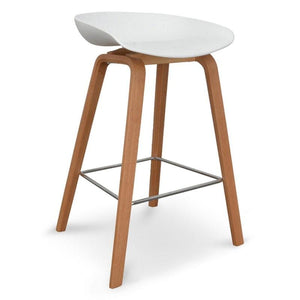 Backless Scandi Wooden Bar Stool