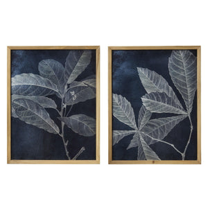 Midnight Blue Leaf Framed Print