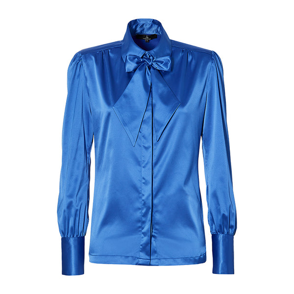 THE BLOUSE with detachable bow - Ocean Blue