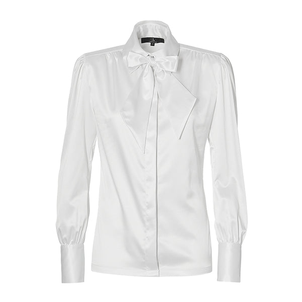 THE BLOUSE with detachable bow - white