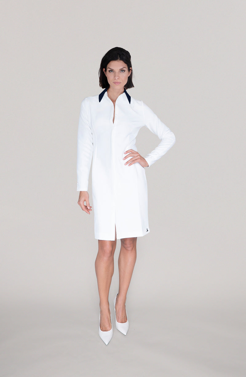 THE COLLAR DRESS - off white / navy blue collar