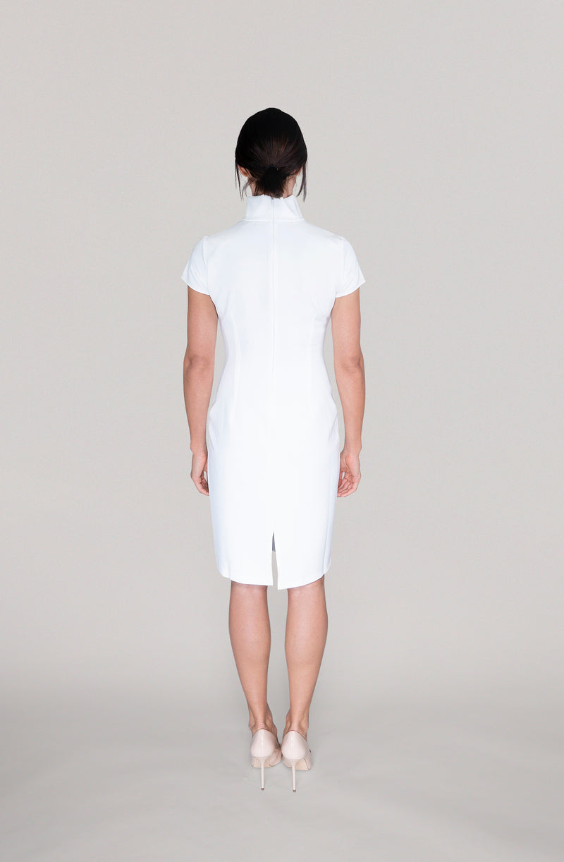 THE TURTLENECK DRESS - off white