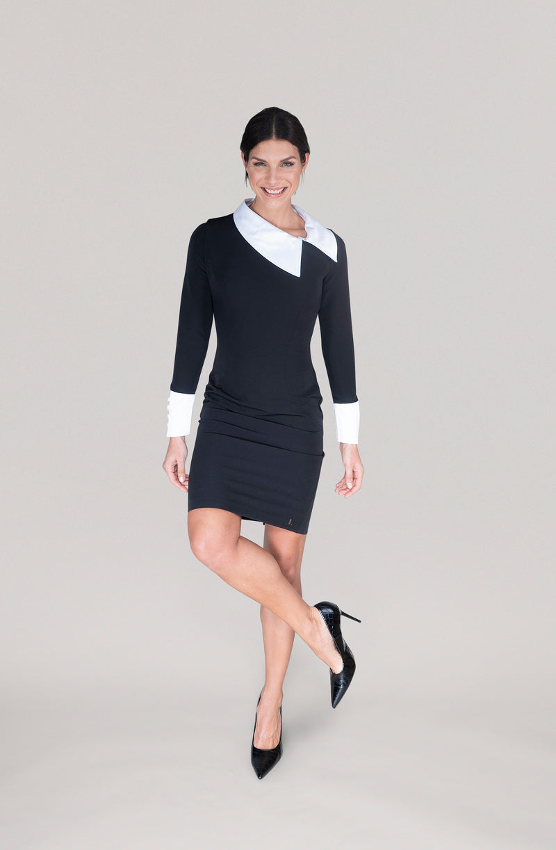 THE DETACHABLE COLLAR DRESS -  black and white