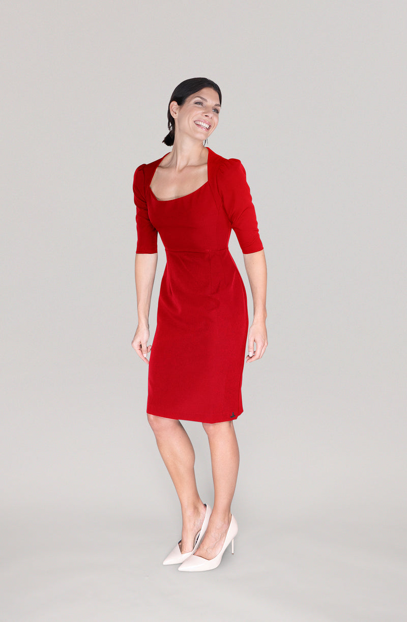 THE SHOULDER DRESS - red