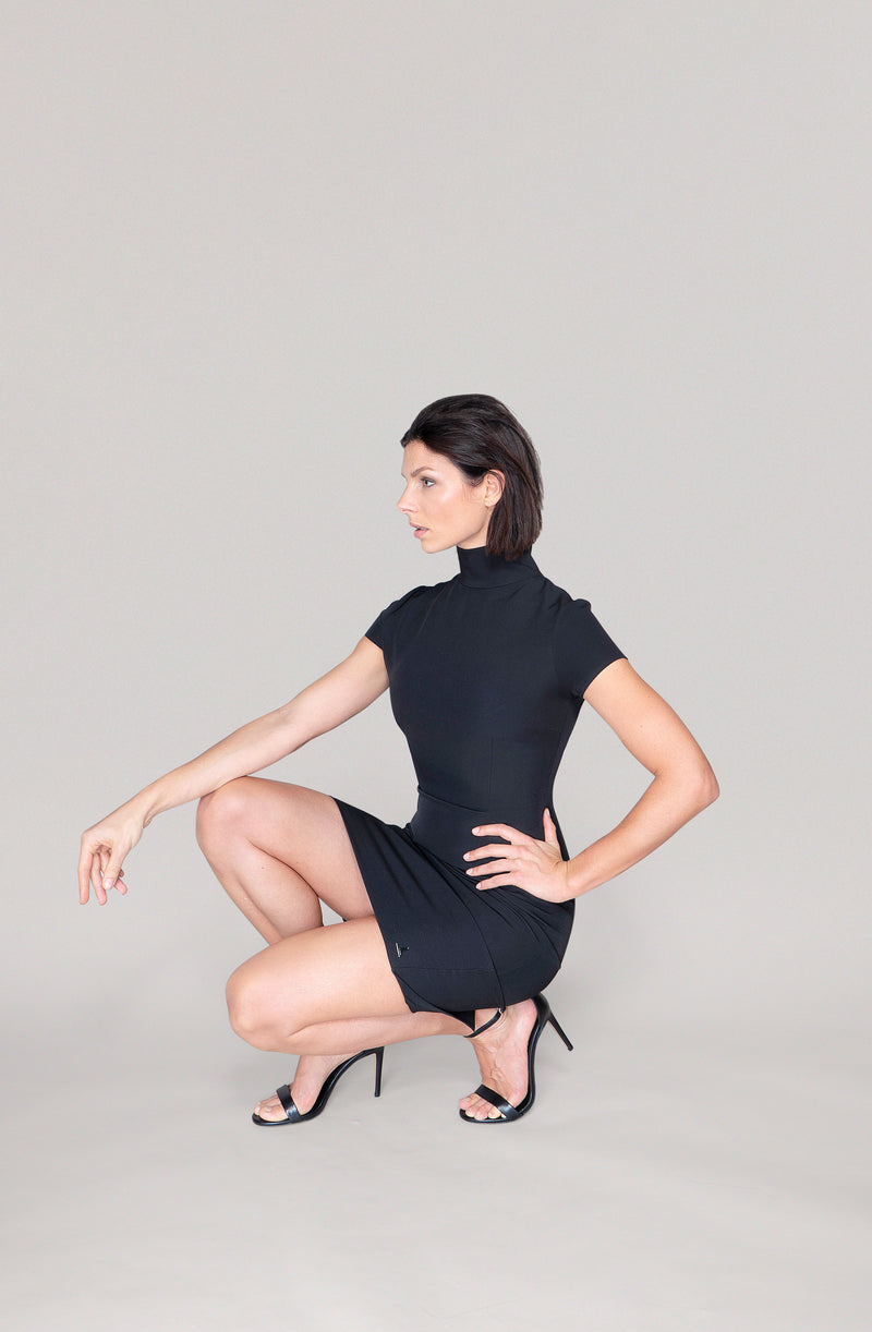 THE TURTLENECK DRESS - black