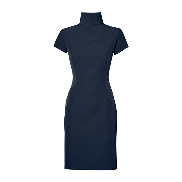 THE TURTLENECK DRESS - navy blue