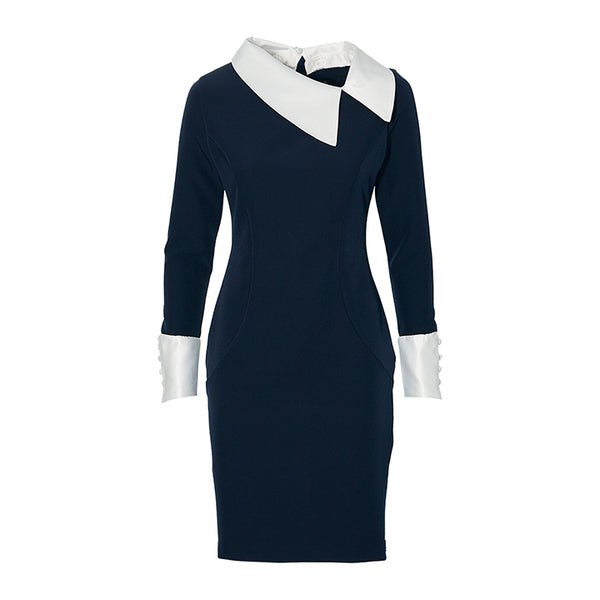 THE DETACHABLE COLLAR DRESS -  navy blue and white