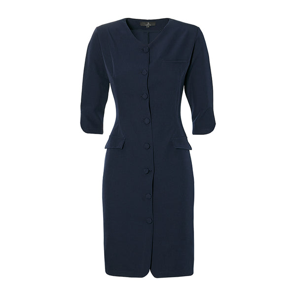 THE BUTTON DRESS -  navy blue