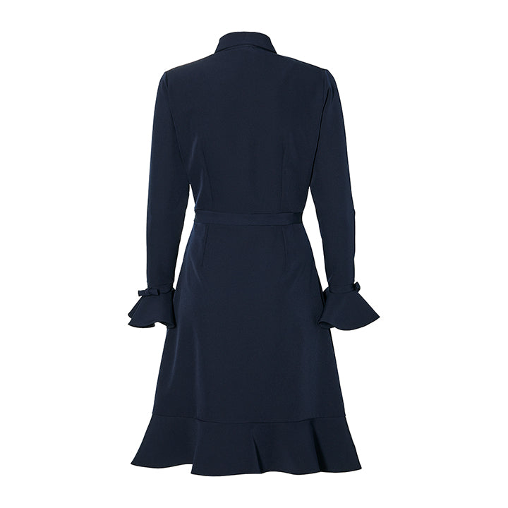 THE DRESS WITH BOWS- navy blue