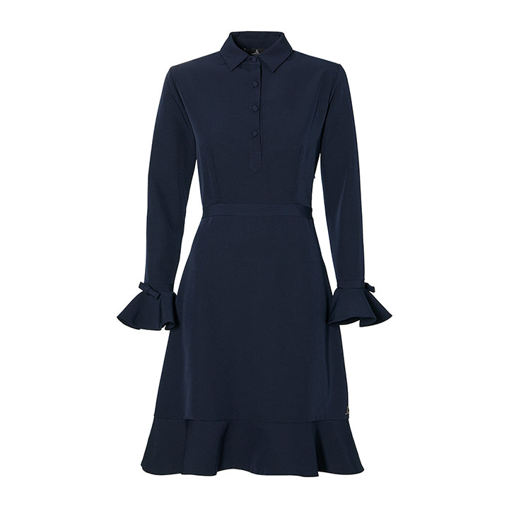 THE DRESS WITH BOWS - navy blue