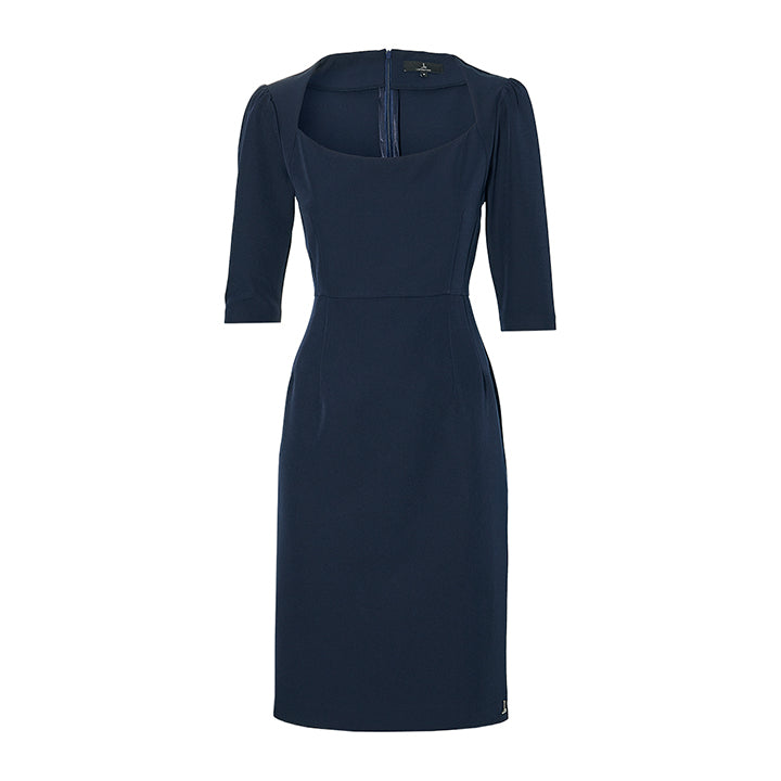 THE SHOULDER DRESS -  navy blue