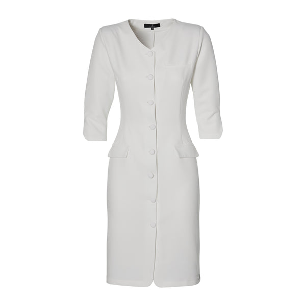 THE BUTTON DRESS -  off white