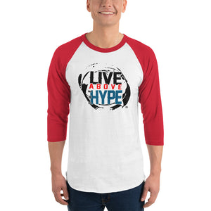 Live Above the Hype 3/4 sleeve raglan shirt (Red & White)