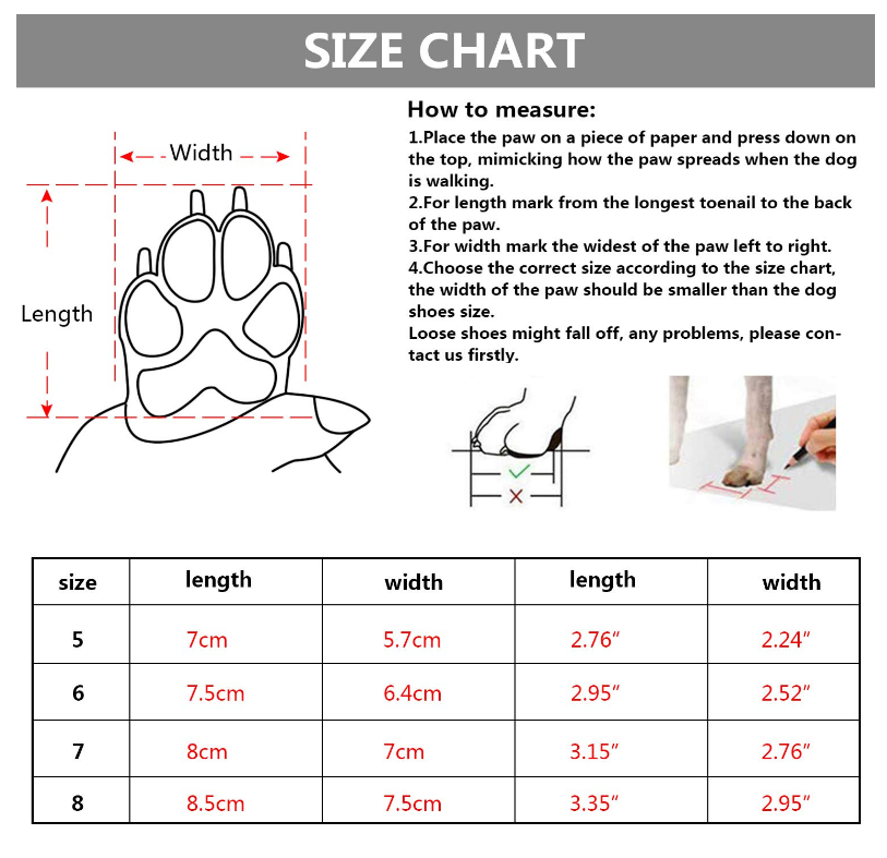 Qumy, Dog Boot Sizing Chart. Le Pet Luxe