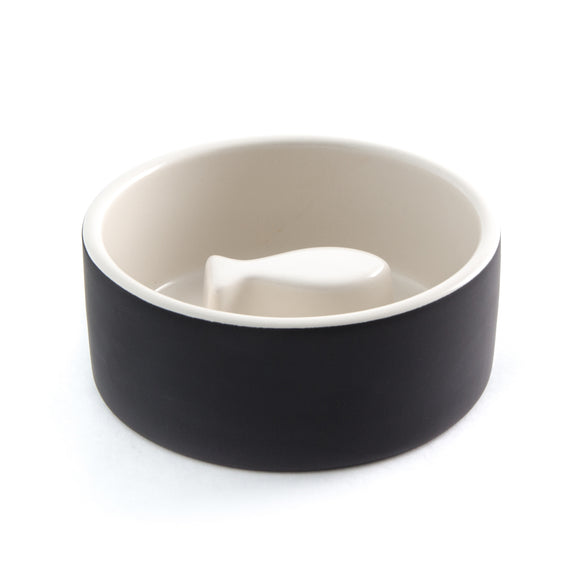 Naturally Cooling Cat (Fish) Food Bowl - Black - le-pet-luxe