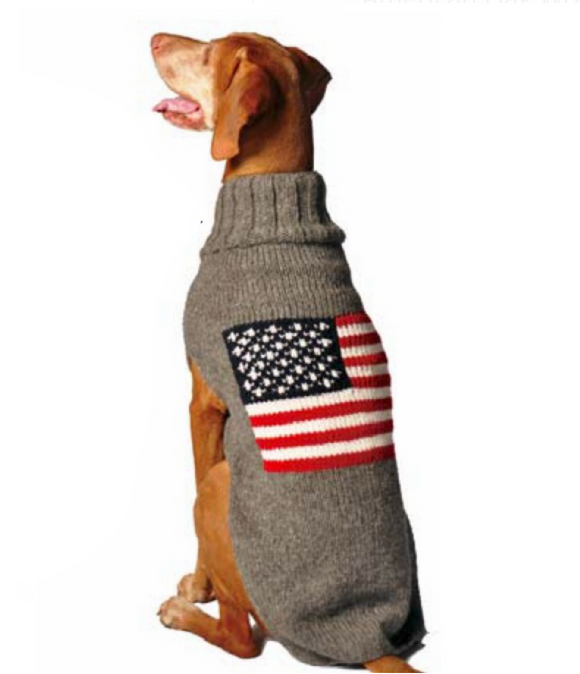 American Flag Wool Dog Sweater - Le Pet Luxe