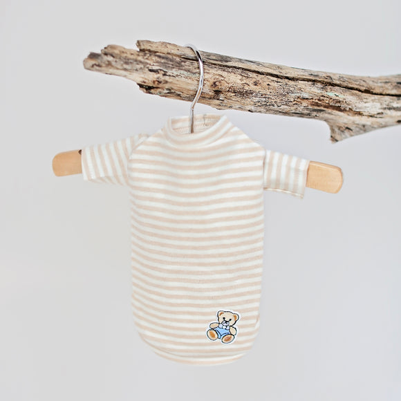 Baby Bear Boy Dog Shirt ~ Stripe Taupe - Le Pet Luxe