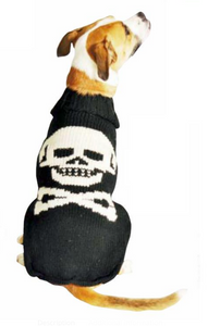 Black Skull Wool Dog Sweater - Le Pet Luxe