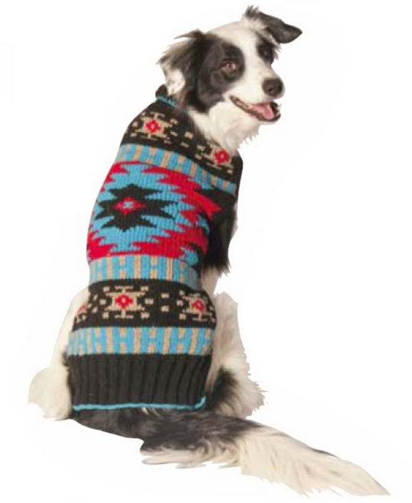 Black Southwest Shawl Collar Dog Sweater - Le Pet Luxe