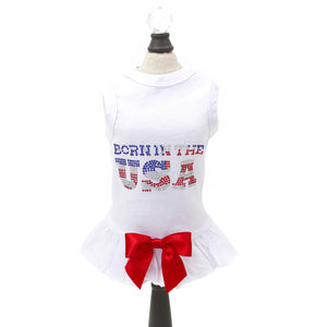 Born in the USA Dog Dress ~ White - Le Pet Luxe