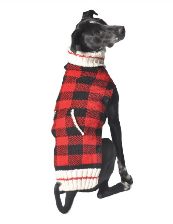 Classics ~ Buffalo Plaid Hand knit wool dog sweater - Le Pet Luxe