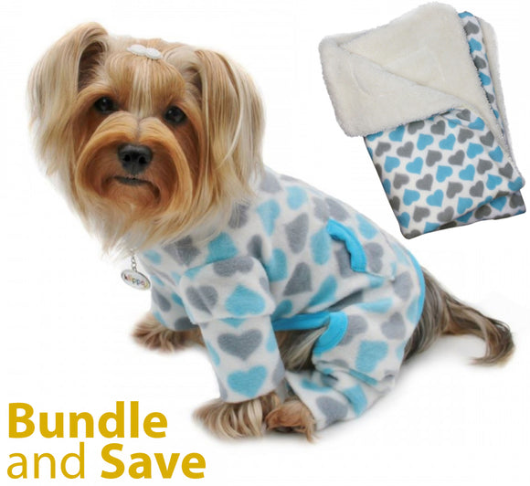 Blue and Grey Hearts Fleece Pajama with 20% OFF Blanket Bundles - Le Pet Luxe