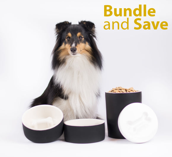 Naturally Cooling Ceramic Dog Water, Food Bowl and Treat Jar Bundle - Le Pet Luxe
