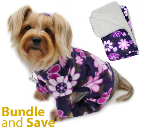 Midnight Garden Fleece Pajama with 20% OFF Blanket Bundles - Le Pet Luxe