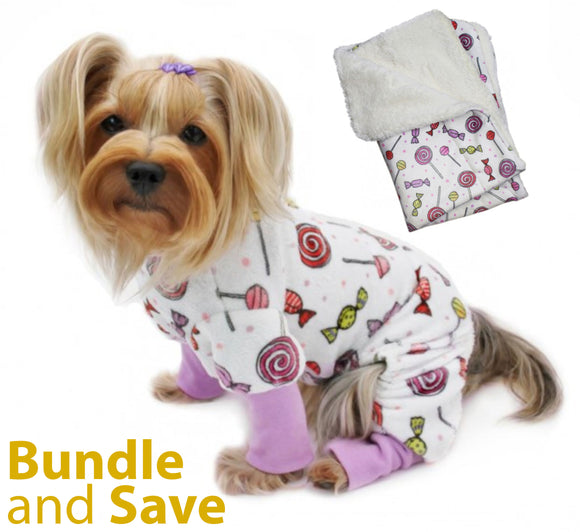 Ultra Soft Minky Sweet Candies Dog Pajama with 20% OFF Blanket Bundles - Le Pet Luxe