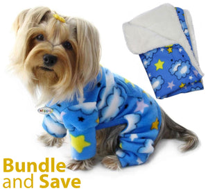 Stars and Clouds Fleece Pajama with 20% OFF Blanket Bundles - Le Pet Luxe