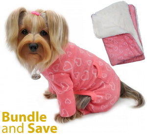 Blush of Love Fleece Pajama with 20% OFF Blanket Bundles - Le Pet Luxe