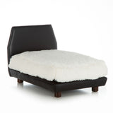 Mid Century Modern Dog Bed ~ White Faux Leather with Pink Velvet - Le Pet Luxe