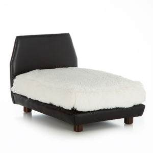 Mid Century Modern Dog Bed ~ Black Faux Leather with Shaggy Ivory - Le Pet Luxe