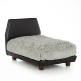 Mid Century Modern Dog Bed ~ Black Faux Leather with Shaggy Grey - Le Pet Luxe