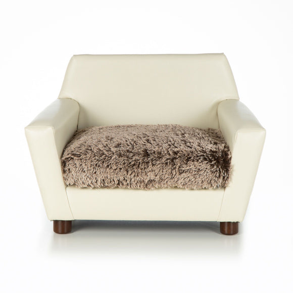 Mid Century Modern Dog Chair ~ Ivory Faux Leather with Shaggy Brown/Beige - Le Pet Luxe