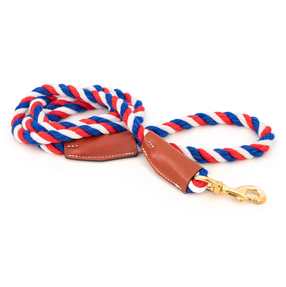 Cotton Rope Leash with Leather Accents - Le Pet Luxe