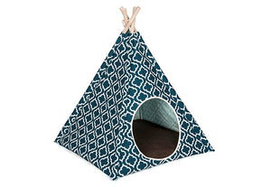 Teepee Tent Pet Bed- Moroccan Navy - Le Pet Luxe